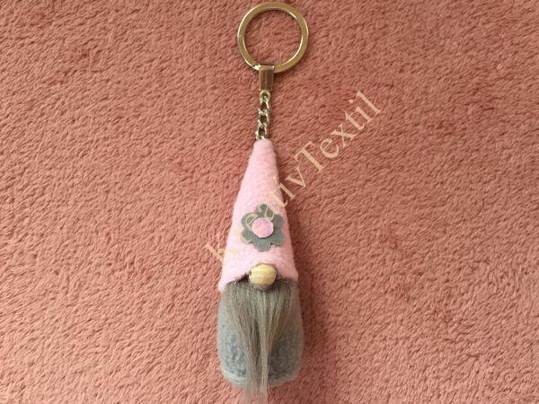 Manó kulcstartó_rózsaszín-szürke