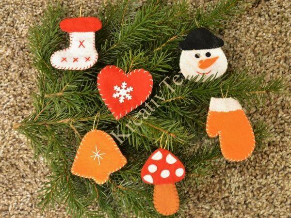 Karácsonyfa díszek filcből