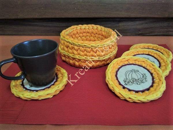 Horgolt szegélyű kávés/teás csésze alátét szett_őszi