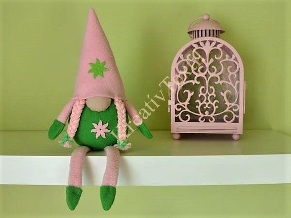 Rózsaszín-zöld tavaszi manó lány lábakkal